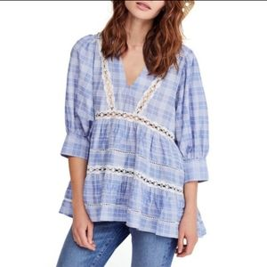 Free People Time Out Lace Tunic Blue